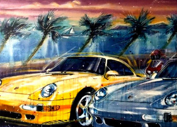Untitled Car Painting 1998 38x48 Super Huge Original Painting - Michael Bryan