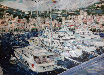Newport Beach Harbor 1985 30x40 California  Original Painting - Michael Bryan