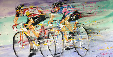 Untitled (bicyclists) 1989 36x72 Original Painting by Michael Bryan
