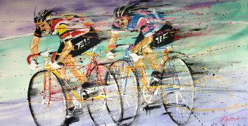 Untitled (bicyclists) 1989 36x72 Huge  Original Painting - Michael Bryan