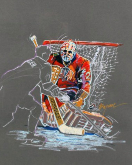 Great Save Drawing 1991 (Hockey) 35x29 Works on Paper (not prints) by Michael Bryan