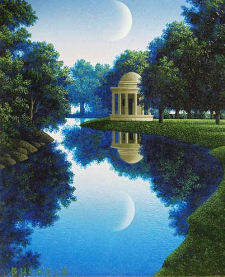 Dome and Moon, Study: Temples and Idylls II 6x5 Original Painting by Jim Buckels