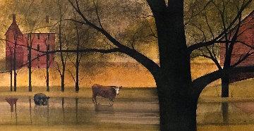 Long Pond, Barn, Farm Scene 1974 18x66 Original Painting - Pat Buckley Moss