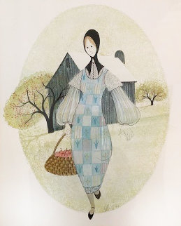 Quaker Girl With Basket of Apples Watercolor 1978 27x23 Watercolor by Pat Buckley Moss