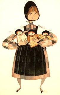 My Three Girls Watercolor 1985 21x14 Watercolor - Pat Buckley Moss