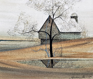 Tranquil Reflections of the Valley Watercolor 2003  22x24 Watercolor - Pat Buckley Moss