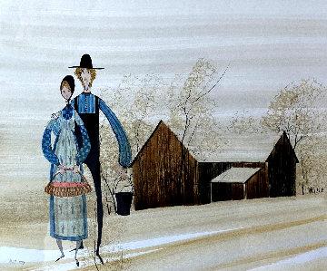 In Love 1983 18x16 Original Painting - Pat Buckley Moss
