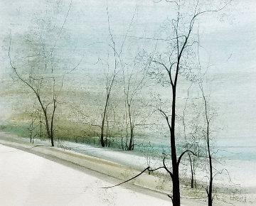 Gentle Winter Watercolor 1982 16x17 Watercolor - Pat Buckley Moss