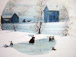 Winter Skaters Watercolor 1977 22x20 Watercolor - Pat Buckley Moss