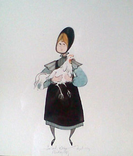 Girl With Chicken Watercolor 1983 12x11 Watercolor - Pat Buckley Moss