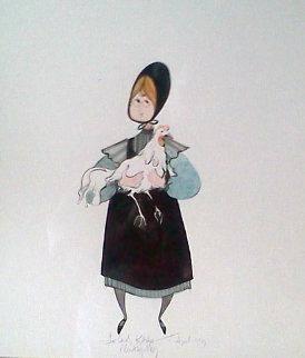 Girl With Chicken Watercolor 1983 12x11 Watercolor - Pat Buckley Moss