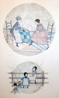 Quilt Ladies Watercolor 1976 16x9 Original Painting - Pat Buckley Moss