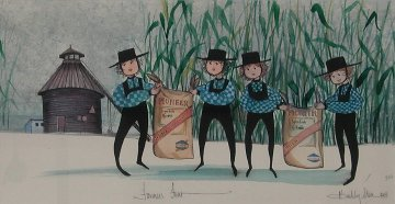 Farmers Four Watercolor 1991 19x26 Watercolor by Pat Buckley Moss