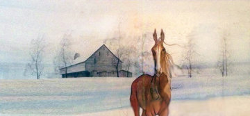 Horse And Barn Watercolor 23x36 Watercolor by Pat Buckley Moss
