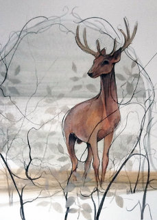 Deer Watercolor 1978 19x20 Watercolor - Pat Buckley Moss