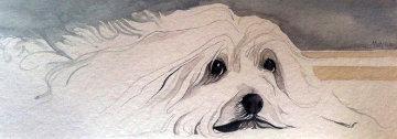 Patience Watercolor 1980 5x14 Watercolor - Pat Buckley Moss