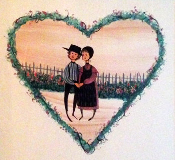 Untitled (Young Lovers) Watercolor 1988 24x24 Watercolor - Pat Buckley Moss