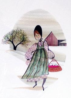 Apple Girl Watercolor 1982 17x20 Watercolor - Pat Buckley Moss
