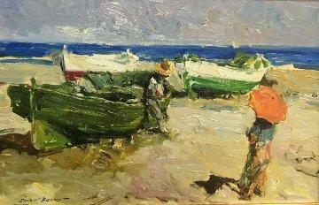 Barcas En La Playa 10x16 Original Painting - Giner Bueno