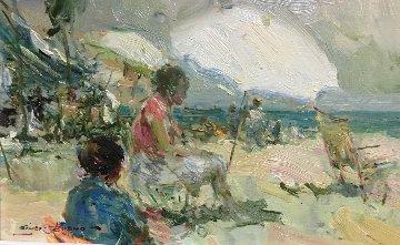 Tarde En La Playa 7x11 Original Painting - Giner Bueno