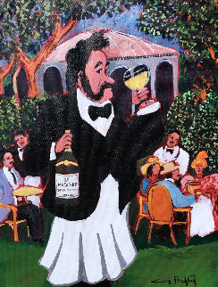 Champagne At La Cascade 2003 22x19 Original Painting by Guy Buffet