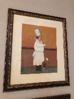 Epicurean Suite of 4, and an Original Drawing 'Soup and Cucaracha' 1996 21x18 w Remarque Limited Edition Print by Guy Buffet - 7