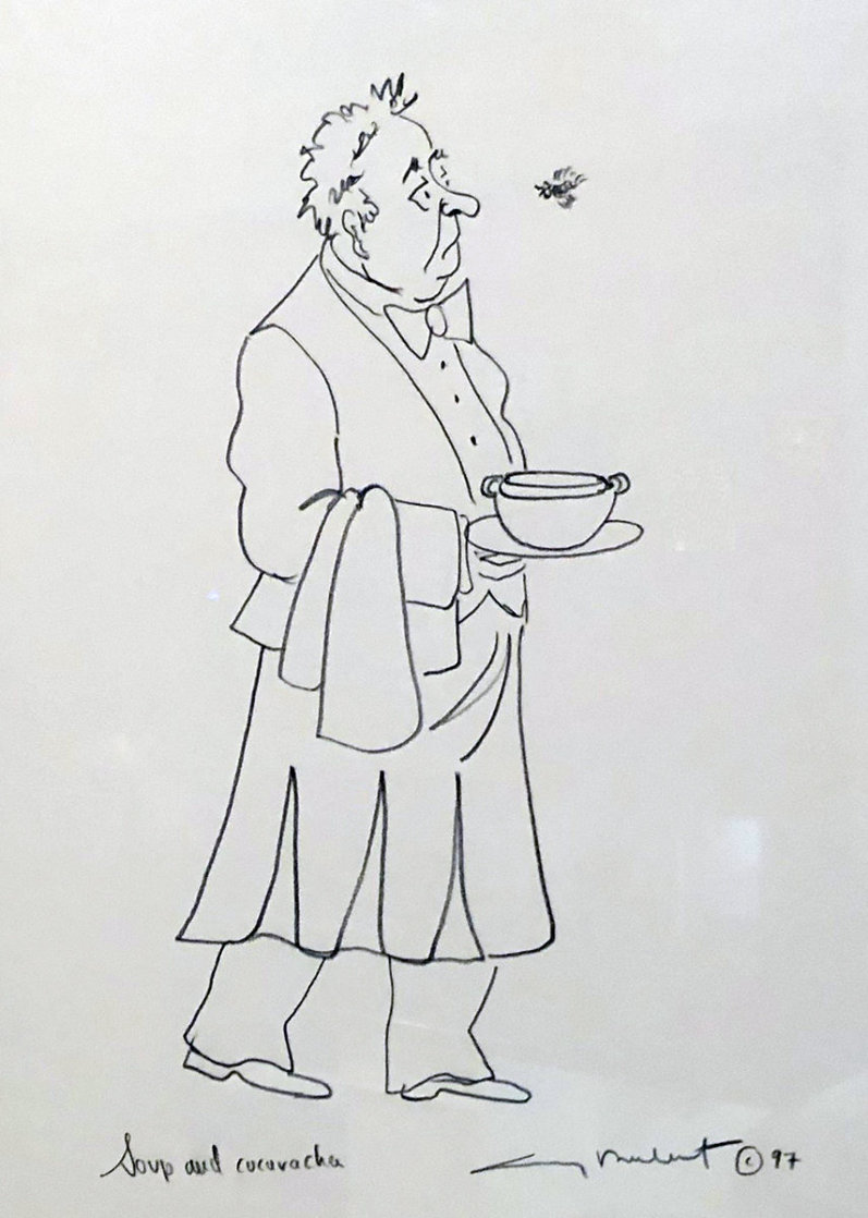 Epicurean Suite of 4, and an Original Drawing 'Soup and Cucaracha' 1996 21x18 w Remarque Limited Edition Print by Guy Buffet