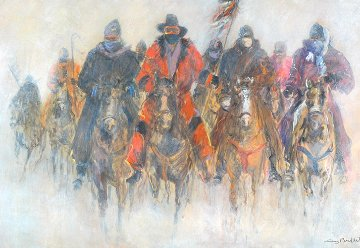 Meeting At Wounded Knee 40x55 Original Painting - Guy Buffet