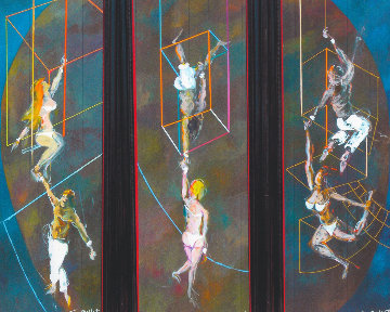 High Trapeze Artists Triptych 90x34 Original Painting - Guy Buffet