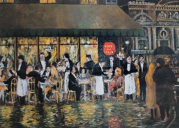 Cafe De La Paix, Paris 37x30 Huge Original Painting - Guy Buffet