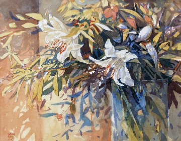 Lilies in a Vase Watercolor 1993 27x27 Watercolor by Simon Bull