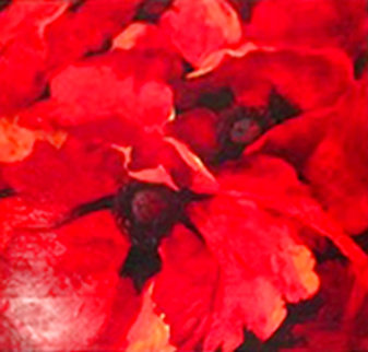 Crimson 2006 32x32 Original Painting - Simon Bull