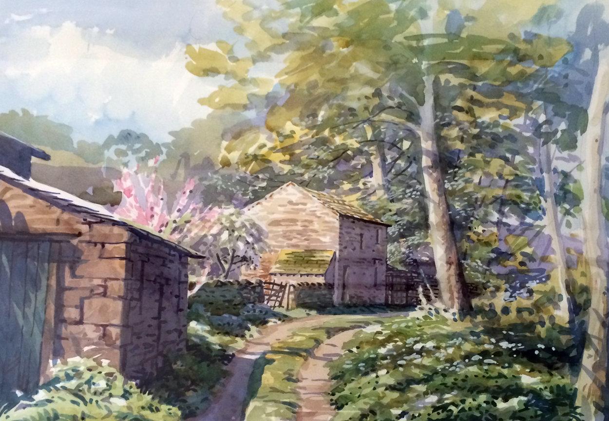 Arncliff Watercolor 1985 56x75 Super Huge Watercolor by Simon Bull