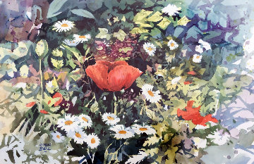 Poppies 2 Watercolor 1986 14x21 Watercolor - Simon Bull