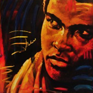 Shadow Boxer XII - Muhammed Ali 2008 30x30 HS by Ali Original Painting - Simon Bull