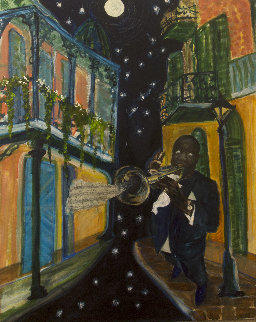 Louis Armstrong 31x29 Original Painting - Jane Bunnett