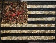Red Flowers 1990 33x43 Original Painting by Hans Burkhardt - 1
