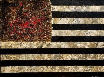 Red Flowers 1990 33x43 Original Painting - Hans Burkhardt