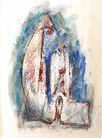 Untitled (Family) Pastel 1979 27x25 Works on Paper (not prints) by Hans Burkhardt - 0
