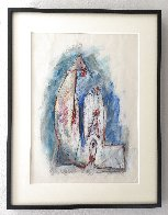 Untitled (Family) Pastel 1979 27x25 Works on Paper (not prints) by Hans Burkhardt - 1
