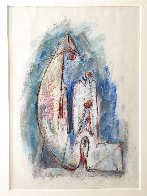Untitled (Family) Pastel 1979 27x25 Works on Paper (not prints) by Hans Burkhardt - 2