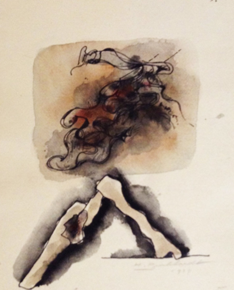 Untitled Watercolor 1979 12x8 Watercolor by Hans Burkhardt