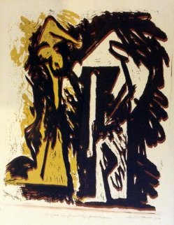 Fallen Figures Monotype 1973 Limited Edition Print by Hans Burkhardt
