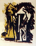 Fallen Figures Monotype 1973 Limited Edition Print by Hans Burkhardt - 1