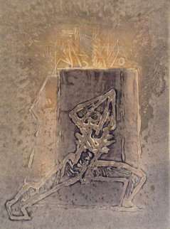 Abstract Figure Unique Print 1985 Limited Edition Print by Hans Burkhardt