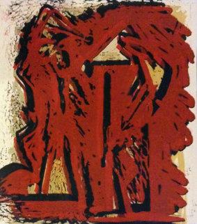 Fallen Figures Unique Monotype 1973 Limited Edition Print by Hans Burkhardt