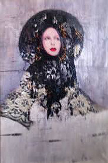 Lace 2001 36x46 Super Huge Original Painting - Richard Burlet