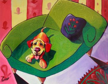 Lady Rose 1999 36x48 Huge Original Painting - Ron Burns