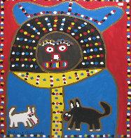 Man 2 Dogs 24x18 Original Painting by Richard Burnside - 1