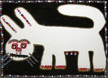 White Dog Black Background 22x26 Original Painting by Richard Burnside
